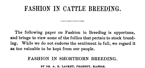 Fashion in Shorthorn Breeding, 1884